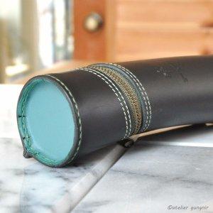 画像2: 円筒型のペンケース イタリアンレザー カラーオーダーメイド