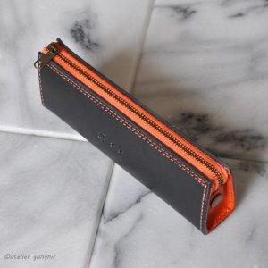 画像2: シンプルなファスナーペンケース イタリアンレザー カラーオーダーメイド